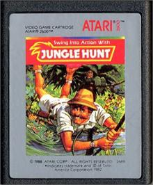 Cartridge artwork for Jungle Hunt on the Atari 2600.
