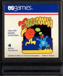Cartridge artwork for Megamania on the Atari 2600.