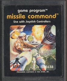 Cartridge artwork for Missile Command on the Atari 2600.
