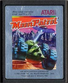 Cartridge artwork for Moon Patrol on the Atari 2600.