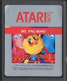 Cartridge artwork for Ms. Pac-Man on the Atari 2600.