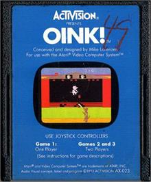 Cartridge artwork for Oink! on the Atari 2600.