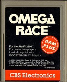 Cartridge artwork for Omega Race on the Atari 2600.