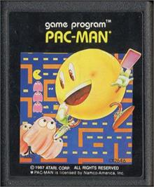 Cartridge artwork for Pac-Man on the Atari 2600.