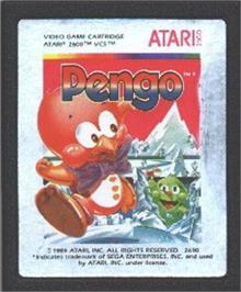 Cartridge artwork for Pengo on the Atari 2600.
