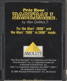 Cartridge artwork for Pete Rose Pennant Fever on the Atari 2600.