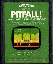 Cartridge artwork for Pitfall! on the Atari 2600.