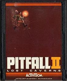 Cartridge artwork for Pitfall II: Lost Caverns on the Atari 2600.