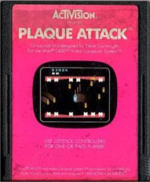 Cartridge artwork for Plaque Attack on the Atari 2600.