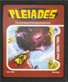 Cartridge artwork for Pleiades on the Atari 2600.