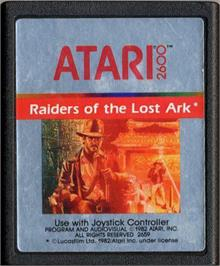 Cartridge artwork for Raiders of the Lost Ark on the Atari 2600.