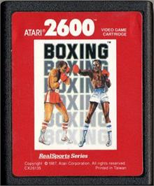 Cartridge artwork for RealSports Boxing on the Atari 2600.