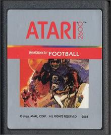 Cartridge artwork for RealSports Football on the Atari 2600.