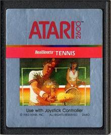 Cartridge artwork for RealSports Tennis on the Atari 2600.