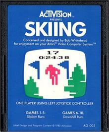 Cartridge artwork for Skiing on the Atari 2600.
