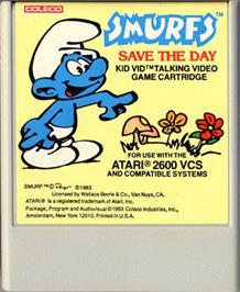 Cartridge artwork for Smurfs Save the Day on the Atari 2600.