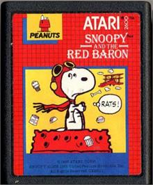 Cartridge artwork for Snoopy and the Red Baron on the Atari 2600.