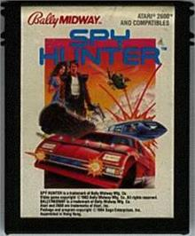 Cartridge artwork for Spy Hunter on the Atari 2600.