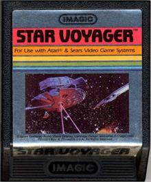 Cartridge artwork for Star Voyager on the Atari 2600.