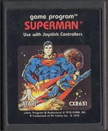 Cartridge artwork for Superman on the Atari 2600.