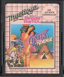 Cartridge artwork for Swedish Erotica: Custer's Revenge on the Atari 2600.