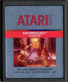 Cartridge artwork for SwordQuest: FireWorld on the Atari 2600.