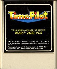 Cartridge artwork for Time Pilot on the Atari 2600.