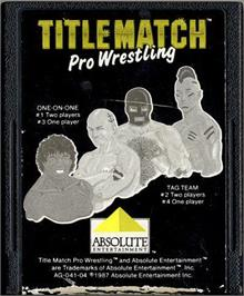 Cartridge artwork for Title Match Pro Wrestling on the Atari 2600.
