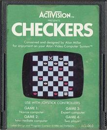 Cartridge artwork for Video Checkers on the Atari 2600.