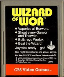 Cartridge artwork for Wizard of Wor on the Atari 2600.