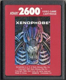 Cartridge artwork for Xenophobe on the Atari 2600.