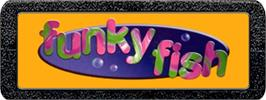 Top of cartridge artwork for Funky Fish on the Atari 2600.