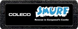Top of cartridge artwork for Smurf: Rescue in Gargamel's Castle on the Atari 2600.