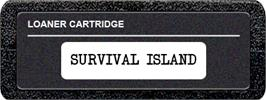 Top of cartridge artwork for Survival Island on the Atari 2600.