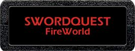 Top of cartridge artwork for SwordQuest: FireWorld on the Atari 2600.