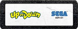 Top of cartridge artwork for Up 'n Down on the Atari 2600.