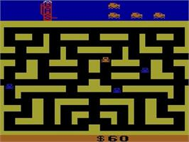 In game image of Bank Heist on the Atari 2600.