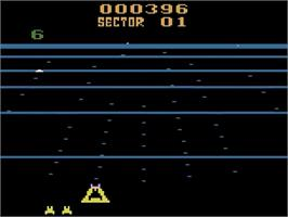 In game image of Beamrider on the Atari 2600.