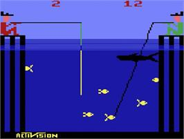 In game image of Fishing Derby on the Atari 2600.