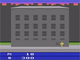 In game image of Ghostbusters on the Atari 2600.