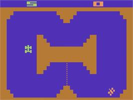 In game image of Indy 500 on the Atari 2600.