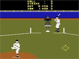 In game image of Major League Baseball on the Atari 2600.