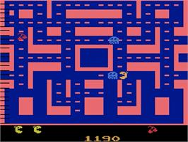 In game image of Ms. Pac-Man on the Atari 2600.