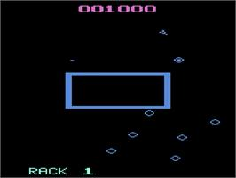 In game image of Omega Race on the Atari 2600.