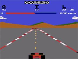 In game image of Pole Position on the Atari 2600.