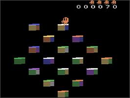 In game image of Q*Bert's Qubes on the Atari 2600.