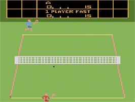 In game image of RealSports Tennis on the Atari 2600.