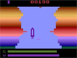In game image of River Patrol on the Atari 2600.