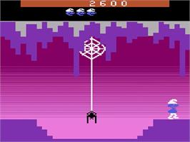 In game image of Smurf: Rescue in Gargamel's Castle on the Atari 2600.