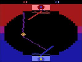 In game image of Star Wars: Jedi Arena on the Atari 2600.